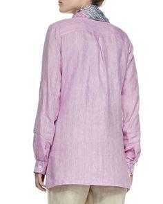 Long-Sleeve Linen Top