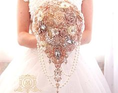Rose gold BROOCH BOUQUET.  blush, cream, champagne, ivory colours. Wedding bridal teardrop cascading bouquet.