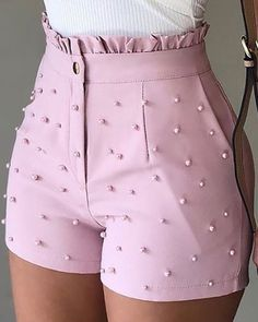 Women Shorts Summer 2020 Black High Waist Shorts Jeans Plus Size Casual Pearls Shorts Trend Fashion, Teen Fashion Outfits, Mode Outfits, Fashion Pants, Girl Fashion, Womens Fashion, Cute Casual Outfits, Short Outfits, Chic Outfits