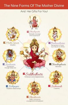 Navratri is the most auspicious Hindu festival which is celebrated till nine days. Navratri is just around the corner! This day is dedicated to the worship of Goddess Durga. Navdurga which means. Indian Goddess, Durga Goddess, Hindu Festivals, Indian Festivals, Wicca, Karma Yoga, Durga Images, Hindu Deities, Hinduism Symbols