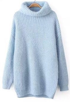 shop blue high neck long sleeve knit sweater online abaday offers blue high neck long sleeve knit sweater more to fit your fashionable needs free Loose Knit Sweaters, Long Sweaters, Blue Sweaters, Pullover Sweaters, Knitting Sweaters, Winter Sweaters, Jumper, Sweater Fashion, Sweater Outfits
