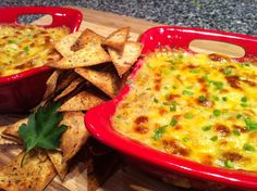 Low Carb - Hot Shrimp and Artichoke Dip with Baked Garlic-Parmesan Tortilla Chips    https://www.facebook.com/pages/Peace-Love-and-Low-Carb/167748223291784    www.peaceloveandlowcarb.com