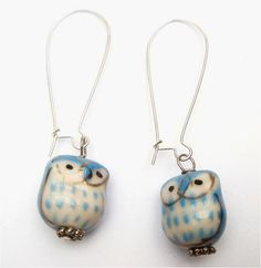 Silver Plated Brass  Porcelain Owl Earrings von gemandmetal auf Etsy, $5,99