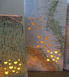 Map Luminary Bags by Olden Days (Etsy) - Perfect as Travel Decor, or for a Destination Wedding, or Travel Themed Party