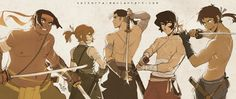 Shiro, Keith, Lance, Hunk and Pidge as Samurais of Voltron from Voltron Legendary Defender