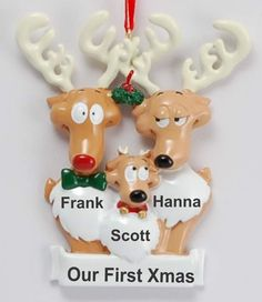 Personalized Our First Christmas Family Christmas Ornament Reindeer 3 | RussellRhodes.com Family Christmas Ornaments, Family Ornament, Baby Ornaments, Personalized Christmas Ornaments, Perfect Christmas Gifts, Christmas Baby, Christmas Colors, Christmas Vacation, Polymer Clay Ornaments