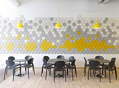 Great cafeteria with Form Us With Love hex wall tiles - hex tiles are what we want Cafeteria Design, Acoustic Design, Acoustic Wall, Commercial Design, Commercial Interiors, Deco Pizzeria, Acustic Panels, Cocina Office, Swedish Design