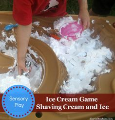 Sensory Play- Ice Cream Game #sensorylearning #kids #outdoorplay #ice #shavingcream