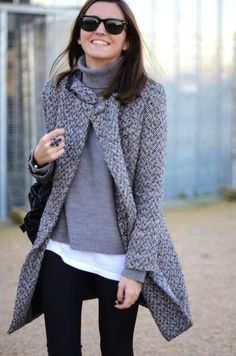 Gray sweater and coat over white T and black skinnies