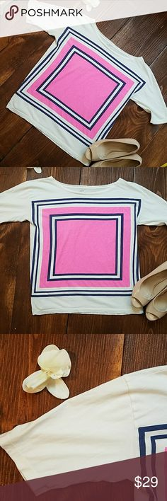 """(J. Crew) """"Collector Tees"""" Geometric Shirt J. Crew Collector Tee (t-shirt line by J. Crew). This has a boat neck, lightweight cotton with short sleeves (to right above the elbow).   White / cream w/ bright hot pink & navy color block design. Very unique and fun!  Size small.  Condition: excellent used condition. Only worn & washed once. Flaw: I tore a tiny hole where the tag was. I made sure to snap 2 photos showing this. Let me know if you have any questions or want more photos prior to…"""