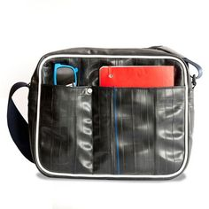 Mercer iPad Shoulder Bag $149, made from upcycled bicycle inner tubes,