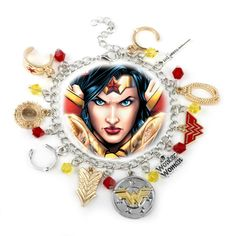 DC Comics Wonder Woman Silvertone/Goldtone Metal 10 Charm Bracelet * A lot more details can be located at the picture link. (This is an affiliate link). Cat Cages, Picture Link, Dc Comics, Wonder Woman, Charmed, Detail, Bracelets, Pictures, Stuff To Buy