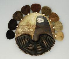 Mary Chuduk, US. 'Veiled' enamel, copper, silver, hair, pearls.