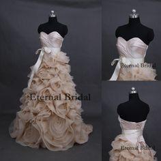 Vestidos De Noiva A-Line Court Train Champagne Organza Sweetheart Luxury Flowers Bow Sashes Long Sweetheart Wedding Dresses 2014 $375.96