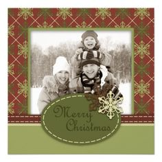 Traditional Christmas Photo Card Square Announcement  #Christmas cards #photo cards #holiday cards  Click on photo to purchase. Check out all current coupon offers and save! http://www.zazzle.com/coupons?rf=238785193994622463&tc=pin