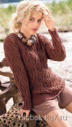 Каштановый пуловер с косами | Клубок