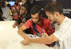 Some Al Ahli stars doing an exclusive shirt signing at our store at The Dubai Mall.