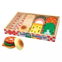 Melissa & Doug® Wooden Sandwich-Making Pretend Play Food Set