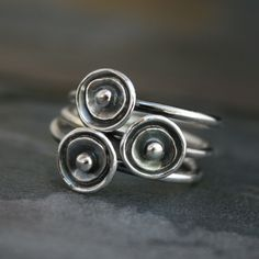 Sea+Anemone+Stacking+Rings+Sterling+Silver+Silver+by+KiraFerrer,+$78.00