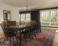 Black windsor chairs, oriental rug, red, navy, Wall color - Hale Navy Benjamin Moore