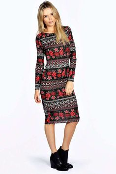 Emie Long Sleeve Bodycon Midi Dress