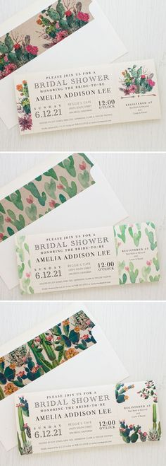 Set the tone of your bridal shower with Desert Blooms, Beacon Lane's customizable vintage cactus style invitations specially made for your party. ** For more information, click me #WeddingShowerInvitation