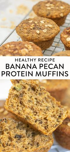 Banana protein muffins that are moist, fluffy, and full of flavor! These will definitely become a healthy recipe staple for your family. Add pecans or other nuts for even more protein and a little texture. They're naturally sweetened and a perfect on-the-go easy breakfast with protein (great for kids and families!). Banana Protein Muffins, Protein Breakfast, Diabetic Muffins, Processed Sugar, Dessert Recipes, Desserts, Pecans, Sweet Recipes, Sweet Tooth