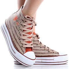 Brown-Orange-Canvas Stacked Platform Lace Up Sneakers
