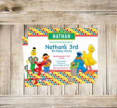 A personal favorite from my Etsy shop https://www.etsy.com/listing/461371496/sesame-street-digital-download  #etsy #thecreationboutique #invitations #invites #birthday #fun #sesamestreet #cookiemonster #bigbird #elmo