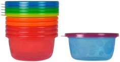 The First Years Take & Toss Bowls with Lids - Multicolor - 6 ct