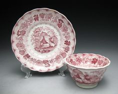 This listing is for a Red transferware tea Cup and Saucer Being handless and marked was made by William Adams in Stoke-On-Trent C. 1785-1805 according to my research.