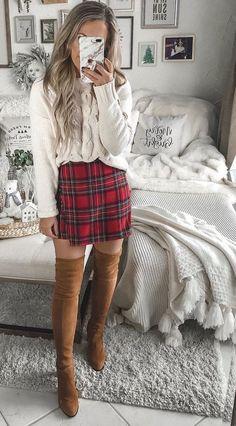 14ccfbb4988 fall winter plaid mini skirt with thigh high boots so cute for the season  Plaid