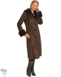 Women's Powder River Outfitters Faux Suede & Fur Long Coat by Panhandle Slim