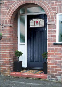 Our Edwardian style composite front door is perfect for retaining the character of original timber doors. If your original door is looking a little tired or draughty this is the perfect solution. Front Door Porch, Grey Front Doors, Porch Doors, Front Doors With Windows, Front Door Entrance, House Front Door, Front Door Colors, Glass Front Door, House With Porch