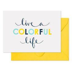 Live a Colorful Life Card // Lemon Stripes