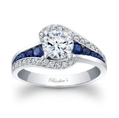 Barkev's Blue Sapphire Engagement Ring 7898LBSW