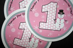 Winter ONEderland Big Favor Gift Tags - Boy or Girl - wonderland, snowman, snowflakes, first, 1st. $6.00, via Etsy.