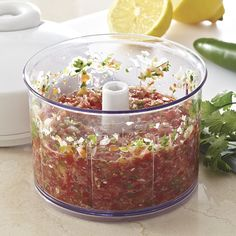 This salsa is so fresh & easy! Instead of the grape tomatoes I use a can of the diced tomatoes. So easy & yummy! Fresh Tomato Salsa - The Pampered Chef® www. Appetizer Dips, Appetizer Recipes, Snack Recipes, Cooking Recipes, Blender Recipes, Oven Cooking, Cooking Utensils, Kitchen Recipes, Easy Cooking