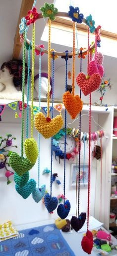 Spring in the garden, a hearts and flowers crochet mobile made with Planet Penny Cotton yarn and preparing for Norfolk and Norwich Open Studios in May. Mode Crochet, Crochet Home, Crochet Crafts, Yarn Crafts, Crochet Projects, Knit Crochet, Craft Projects, Diy Crafts, Mobiles En Crochet