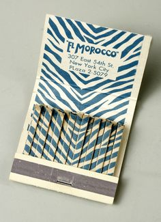 """El Morocco"" matchbook. Gift of Lila A. Morris, New-York Historical Society, 2008.47.113."