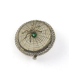 Art Deco Camphor Glass Spider on Web Brooch | eBay