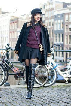 overknee / over the knee boots, burgundy jumper, leopard bag, leopard collar coat, baker boy cap / more at www.adashoffash.com / #ootd #fbloggers #fblogger #wiw #wiwt #look #outfit #lotd