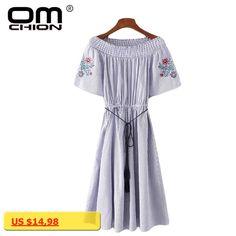 OMCHION New 2017 Vestidos Short Sleeve Summer Dress Women Embroidery Striped Dress Casual Slash Neck Off Shoulder Dresses TQ75