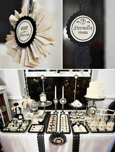 Black and white wedding buffet table