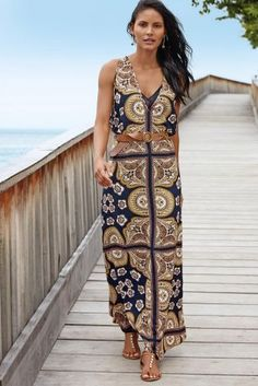 Navy Scarf Print Layer Maxi Dress