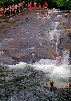 Sliding Rock, North Carolina. A #natural #water #slide.