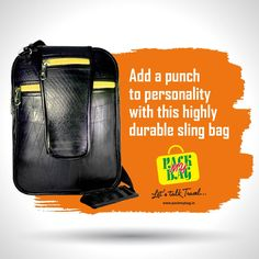 Rhino bag is adding punch to your style with its elegant and sleek design. Completely user friendly and simply appeals to your personality. Highly durable as it is made out of recycled inner tube material. It has ample space to carry stationery and other stuff in a systematic manner. Buy Now www.packmybag.in