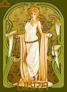 """ #Libra"" Illustration in style of ""Alphonse Mucha"" by ""Ivy Izzard"" What makes YOU tick? Sign up for a chance to win a FREE #astrology reading. www.insideconnection.tv Winners chosen monthly."