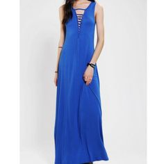 Sparkle & Fade - Deep V Maxi Dress Cut out maxi dress in cobalt. Brand new. Urban Outfitters Dresses Maxi