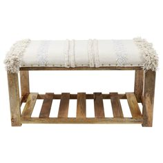 Decor Therapy Rustic Natural Wood and Cream Accent Bench at Lowe's. Rich mango wood meets rug-inspired fabric upholstery in this beautiful, yet classic bench. Four sturdy legs serve as the base, with a lower shelf of Natural Wood Decor, Accent Bench, Bed Lights, Wood Beds, Light Oak, Wood Shelves, New Furniture, Woven Rug, Upholstery
